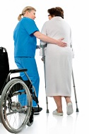 personal injury accident claims nurse with woman on crutches